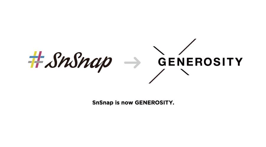 株式会社SnSnap、事業の多角化に伴い社名を変更、CIを一新「ブランドを愛したくなる体験」を手がけるエクスペリエンスエージェンシー「株式会社GENEROSITY」へ